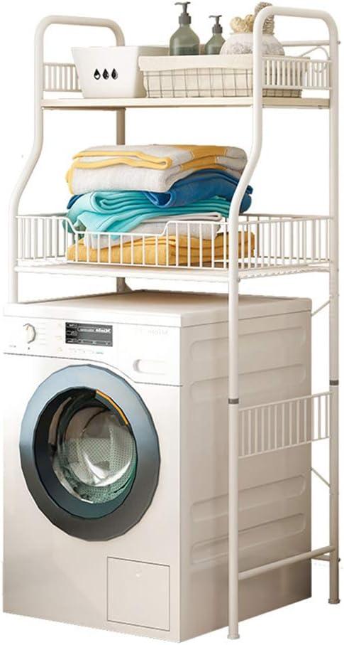 estantes de Cocina estantes estantes estantes de Cocina con Ganchos Organizador de Metal Estante de Rejilla Estante de Almacenamiento de la Lavadora Balcón Mueble para lavandería-White