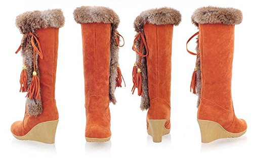 Wedges Boots Tassel Orange Toe Boots Winter Snow Thick Lace Round Trendy Cold Nubuck Up Rabbit Heel Snow Knee Womens Warm Hair High Weather Fw4qvxa