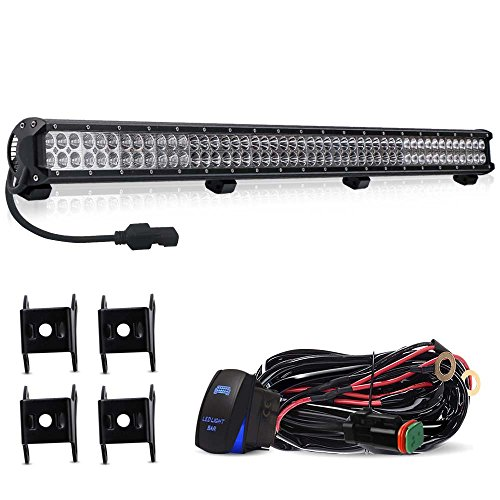 TURBOSII DOT 44 Inch Offroad Led Light Bar FLOOD SPOT Combo with DT Connector Wiring Kit - Roof Windshield Bumper Lights for RV Sahara Chevy Tahoe Pickup UTV Dodge Toyota Polaris Honda Jeep Truck - Truck Chevy Windshield 1500