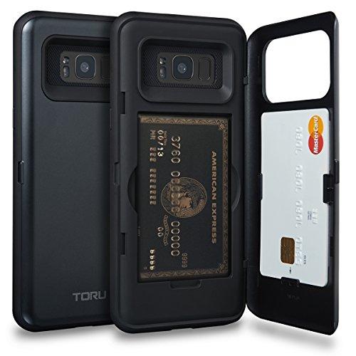 TORU CX PRO Galaxy S8 Plus Wallet Case Dark Blue with Hidden Credit Card Holder ID Slot Hard Cover & Mirror for Samsung Galaxy S8 Plus - Metal Slate