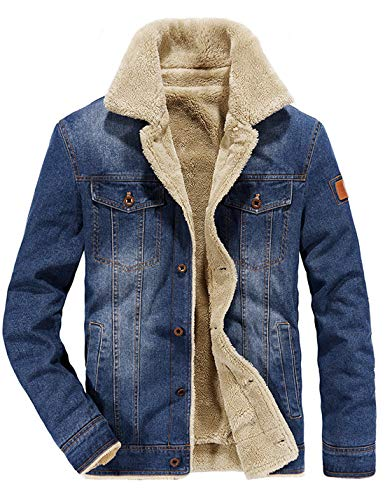 - Omoone Men's Button Up Vintage Sherpa Fleece Lined Denim Biker Jacket Jean Coat (Light Blue Fleece, L)