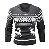 WUAI 2018 Lastest Christmas Ugly Sweater, Clearance Mens Winter Warm Printed Slim Fit Pullover Fashion Tops(Grey,US Size M = Tag L)