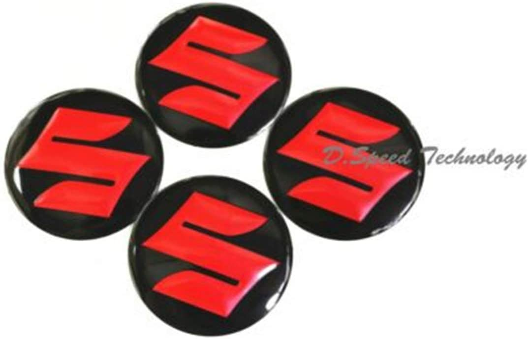 GONGXIFACAI 4 pcs S letter Wheel Center Hub Cap Emblem Badge Sticker Decal for Suzuki 56.5mm