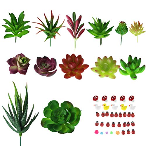 13 Assorted Artificial Succulents Unpotted Bulk Faux Succulents Mini Realistic Smal Fake plants Arrangements Plastic Mixed Types Sizes clolor (green, pink, purple)for Wall hanging Craft Garden (Craft Wall)