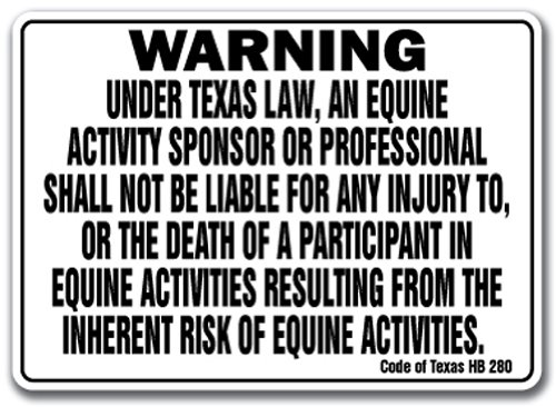 TEXAS Equine Sign activity liability warning statute horse farm barn stable from SignMission