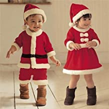 Cute Essential Christmas Mummy's Little Pudding Little Girl Christmas Party Gifts Baby Suit Baby's first Christmas Santa suit with Hat Baby Santa Suit Toddler Baby Christmas Santa Xmas Outfit Fancy Dress Costume Snowsuit Winter Suit(80cm, Girls)