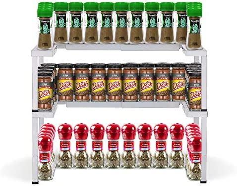 CAXXA Metal Expandable and Stackable Spice Rack,Pantry Kitchen Cabinet Spice Organizer SILVER