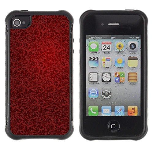 Apple Iphone 4 / 4S - Wallpaper Red Vintage Pattern Dark Art