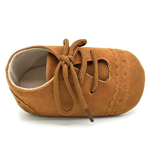 Baby Boys Girls Shoes Soft Sole PU Leather Moccasins Lace-Up Sneaker Infant Toddler First Walkers Crib Dress Shoes(12-18 Months M US Infant), 0110 Brown