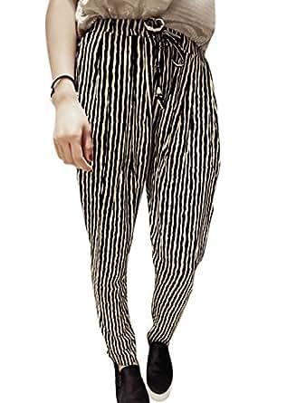 Woman Vertical Stripes Drawstring Waist Casual Pants Black Beige XS