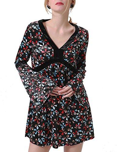 Hippie Mini (Talever Women's V Neck Bell Sleeve Hippie Paisley Print Flowy Swing Casual Mini Flare Cocktail Tea Party Dress Black M)