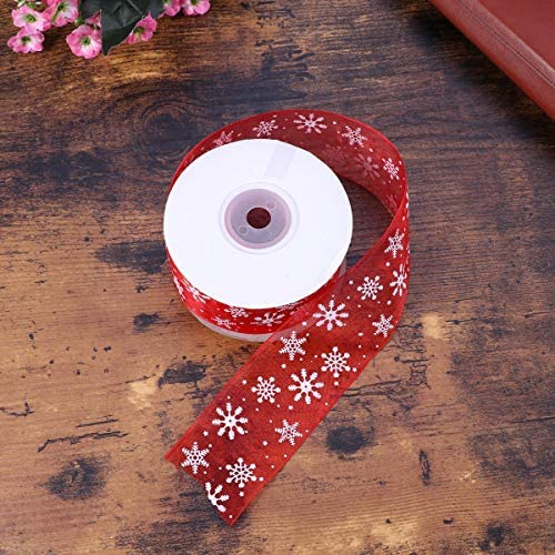 Healifty リボン両面スノーフレークギフトラッピングリボンストリップホリデーギフトDIY用品40mm(赤)