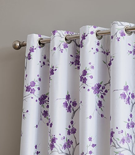 HLC.ME Jasmine Floral Faux Silk 100% Blackout Room Darkening Thermal Insulated Curtain Grommet Panels For Bedroom - Energy Efficient, Complete Darkness, Noise Reducing - Set of 2 (Purple, 52
