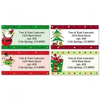 Christmas Address Labels.Fun Christmas Address Labels 4 Designs Set Of 144 1 1 8 X 2 1 4 Self Adhesive Flat Sheet Labels