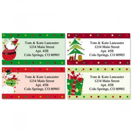 Fun Personalized Christmas Return Address Labels (4 Designs)- Set of 144, Large Self-Adhesive, Flat-Sheet Labels, by Colorful Images ()