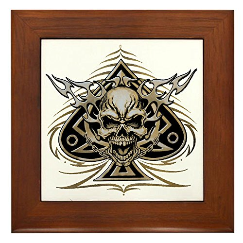 Framed Tile Skull Spade Chains and Flames