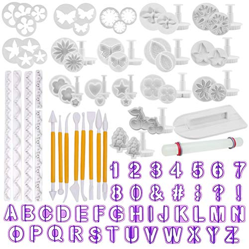 Fondant Tools OFNMY 108pcs Fondant Cutter Cake Decorating Kit Cake Baking Tools Sugarcraft Icing Decoration Kit Flower Modelling Fondant Tools