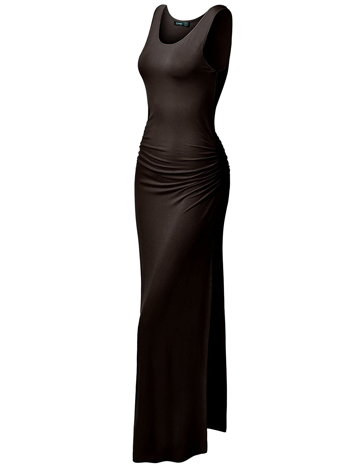 1b4910159d2 Womens Sleeveless Side Shirring Waist Maxi and Midi Dress   2Styles differ  by length and Maxi dress has side slit ...