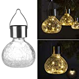Barhalk Glass Hanging Ball Solar Lights - 2 Color Changing Mosaic Crackled Globes LED Lights Outdoor Solar Lanterns for Garden - Yard - Patio - Lawn - Yellow - White (Yellow)