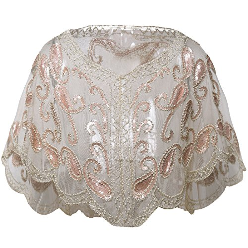 BABEYOND 1920s Shawl Wraps Beaded Evening Cape Bridal Shawl for Evening Dresses Wedding Party - Gown Dress Shawl Wedding