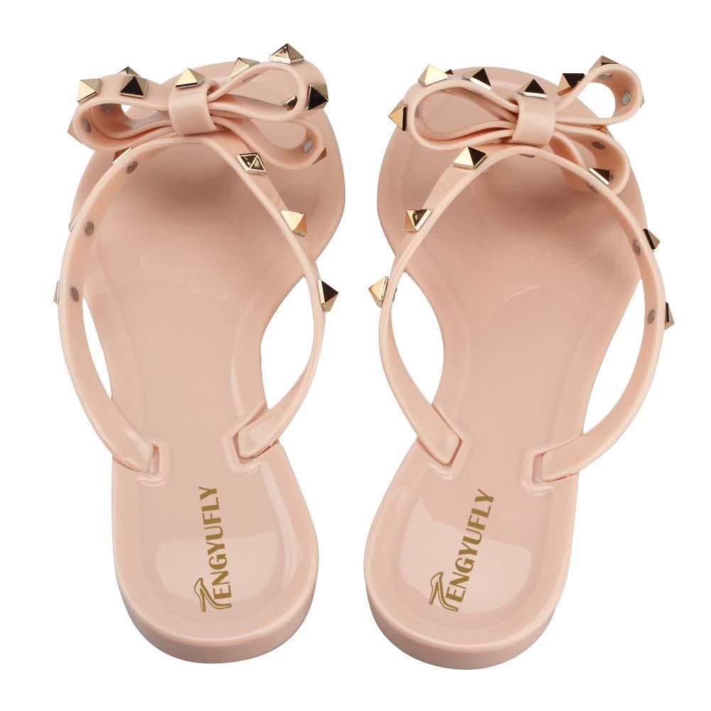f3dbe5a71 Tengyufly Womens Rivets Bowtie Flip Flops Jelly Thong Sandal Rubber Flat  Summer Beach Rain Shoes Women