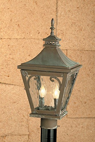 Camden Outdoor Wall Lantern - Elk 5713-C Camden Water Glass 3-Light Outdoor Wall Lantern, 12 by 24-Inch, Charcoal Finish