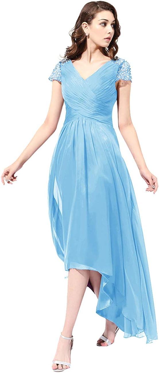 Women Cap Sleeve Formal Evening Gown V Neck Hi-Lo Mother Bride Dress