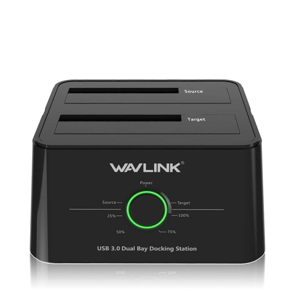 WAVLINK USB 3.0 to SATA (5Gbps) Dual-Bay Hard Drive Docking Station For 2.5 inch/3.5 Inch HDD,SSD Support Offline Clone/Backup/UASP Functions [8TB×2 ]-Black