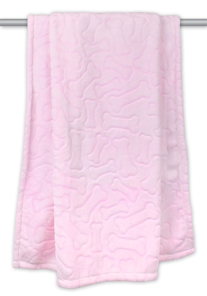 DII Bone Dry Microfiber Pet Blanket for Dogs and Cats, 36x48 , Warm, Soft and Plush for Couch, Car, Trunk, Cage, Kennel, Dog House-Pink