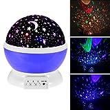 Baby Night Light Moon Star Projector 360 Degree Rotation,Romantic Starry Night Light Lamp Projection for Women Children Kids Bedroom Decor (Purple)