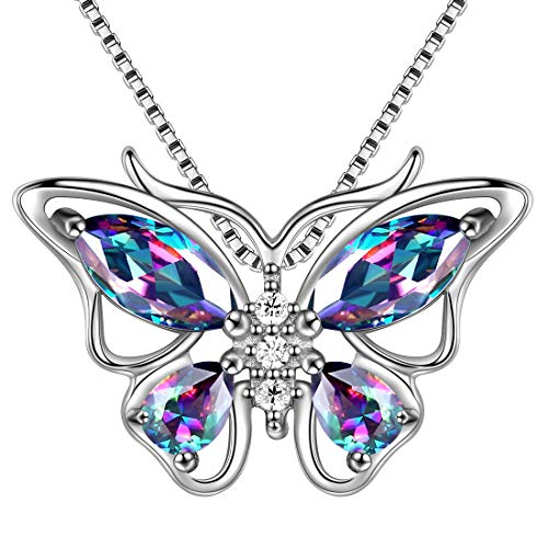 Aurora Tears Mystic Topaz Butterfly Necklace 925 Sterling Silver Mystic Rainbow Butterflies Pendant Girls Wedding Jewelry DP0013M - Necklace Rainbow Butterfly