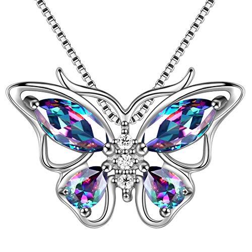 Aurora Tears Mystic Topaz Butterfly Necklace 925 Sterling Silver Mystic Rainbow Butterflies Pendant Girls Wedding Jewelry DP0013M