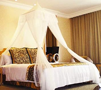 White Square Top Bed Canopy - Holiday Resort Style & Amazon.com: White Square Top Bed Canopy - Holiday Resort Style ...