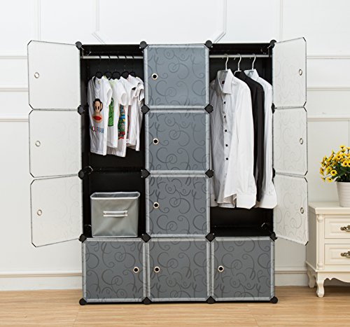 Best Prices! Unicoo - Multi Use DIY Plastic 12 Cube Organizer, Bookcase, Storage Cabinet, Wardrobe C...
