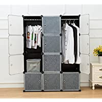UNICOO - Multi Use DIY Plastic 12 Cube Organizer, Bookcase, Storage Cabinet, Wardrobe Closet Black with White Door (Deeper Cube)