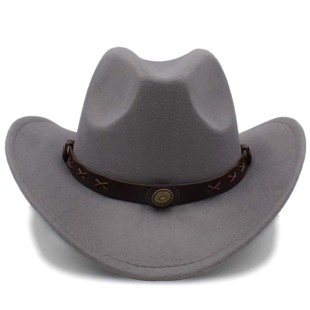 Sun Glower Erwachsener Hut Frauen Männer Western Wolle Western Cowboy Hüte Breiter Krempe Cowgirl Cap Blume Charms Lederband Wintermütze