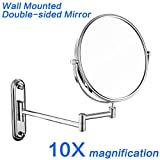 GuRun 8-Inch Two-Sided Swivel Wall Mount Makeup Mirror with 10x Magnification,Chrome Finish M1206(8in,10x) For Sale