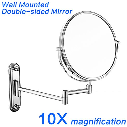GURUN 8-Inch Two-Sided Swivel Wall Mount Makeup Mirror with 10x Magnification,Chrome Finish M1206 8in,10x
