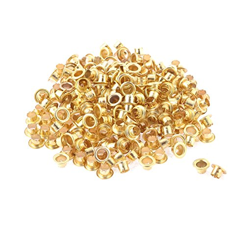UXcell 250 Pcs Gold Tone Metal Round Shaped Eyelet Gromme...