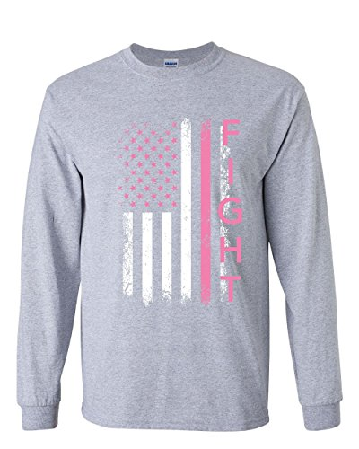 Fight Breast Cancer Long Sleeve Tee Pink Ribbon Awareness Gray M