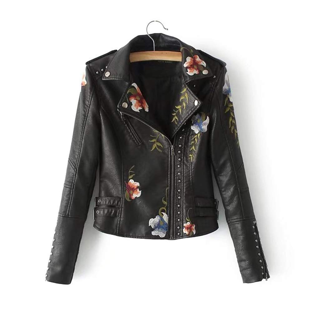 Black ZBW Women's Floral Embroidered Faux Leather Moto Jacket