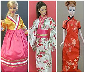 Barbie Doll Clothes : Japanese Kimono, Mandrin Gown, Korean Hanbok Fit Barbie Dolls