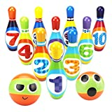 YIMORE Bowling Set Skittles Game for Kids with 10 Pins and 2 Balls Indoor Toy Gifts for Children