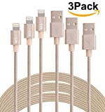 3Pack 3M 10Ft Durable Nylon Braided Lightning 8Pin to USB Data Sync Charging Cable Charger Cord With Aluminum Heads for iPhone 6/6s/6 Plus/5/5c/5s, iPad 4 Mini Air iPod Nano 7 iPod Touch 5 (Golden)