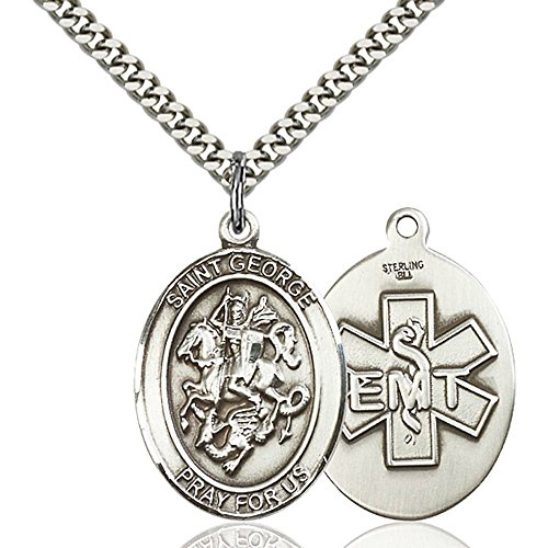 - Sterling Silver Men's Patron Saint Medal of ST. GEORGE / EMT - Includes 24 Inch Heavy Curb Chain - Deluxe Gift Box Included