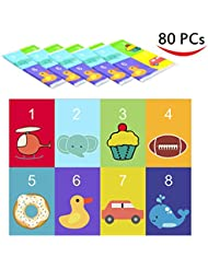 80 Disposable Placemats Table Topper , Extra Sticky (4 Sides) Adhesive Peel  And Stick Strips Disposable Mats For Kids Toddlers Baby Children , BPA Free  Kids ...
