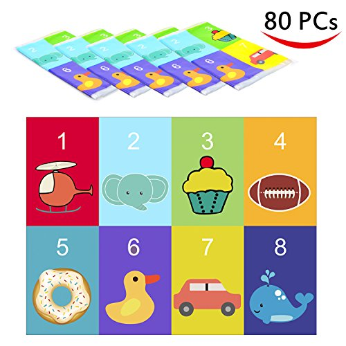 Youngever 80 Disposable Placemats Table Topper, Extra Sticky (4 Sides) Adhesive Peel and Stick Strips Disposable Mats for Kids Toddlers Baby Children, BPA Free Kids Safe, FDA Approved (Animal)