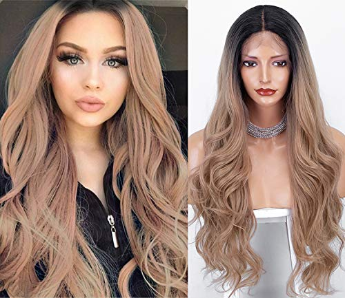Lace Front Wigs for Women Rose Gold Blonde Synthetic Wig Pastel Pink Ombre Wig (Ombre Gold)
