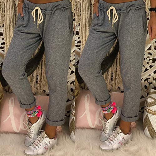 JOFOW Pants for Womens Harem Solid Casual Loose Long Straight Leg Sweatpants High Waist Fashion Street Drawstring Trousers -