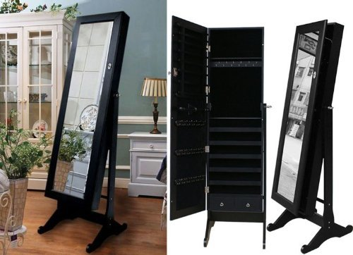 Beauty Acrylic Black Mirrored Jewelry Cabinet Armoire Stand, Mirror, Necklaces, Bracelets, Rings